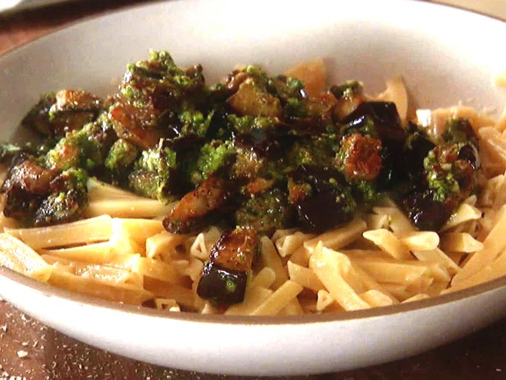 Trenette with Eggplant and Basil Pesto from Giada at Home - FoodNetwork.com.  I used whole wheat penne for mine.  This is so fresh and delicious!