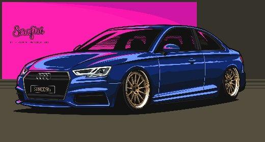 Vector illustration. Audi A4 Graphic design.