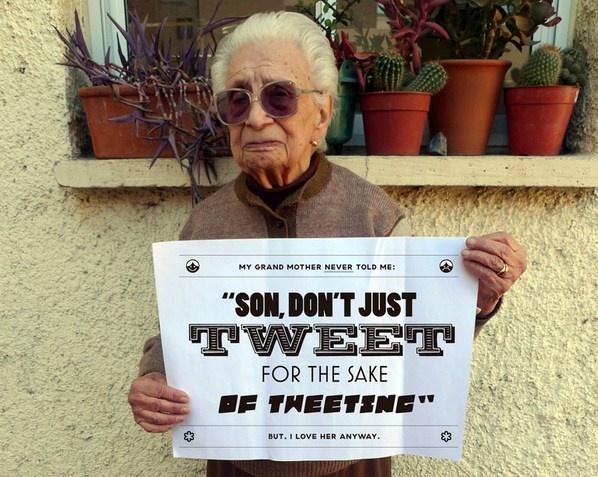 #Grandmother Tips on social media.     #tweet #twitter #grandma #grandparents #seniors #boomers #some #hcsm #socialmedia #mhealth #socpharma #ehealth #medtech #healthtech #ageless #funny #laughs #humor #quotes