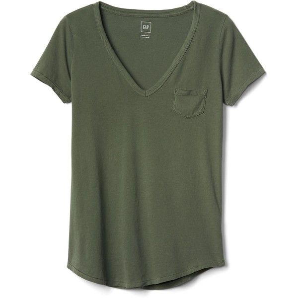 Gap Women Vintage Wash Sueded V Neck Tee (£20) ❤ liked on Polyvore featuring tops, t-shirts, shirts, t shirt, vneck t shirts, green v neck t shirt, tee-shirt and green shirt