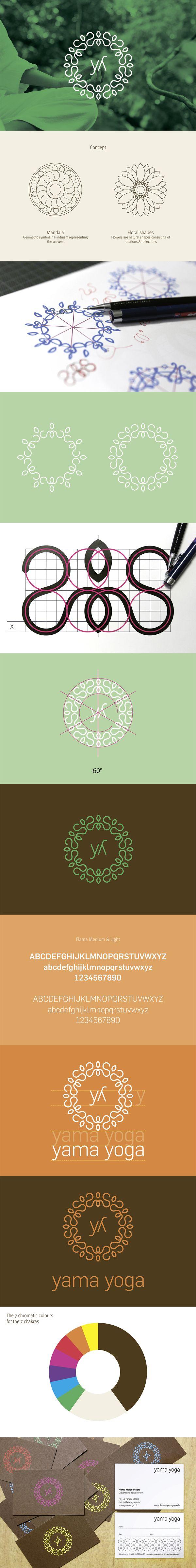 Yama Yoga branding and identity design. Beautiful on print stationary and web design.