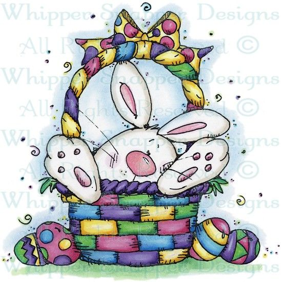 Easter Bunny in Basket - Rabbits - Animals - Rubber Stamps - Shop