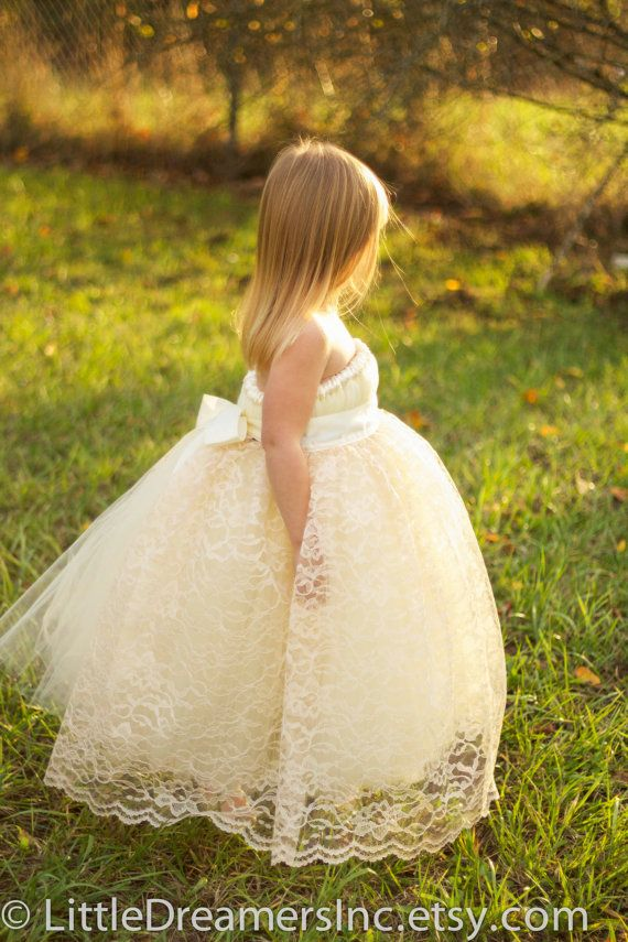 Ivory Flower Girl Tutu Dress with Champagne by littledreamersinc, $99.00