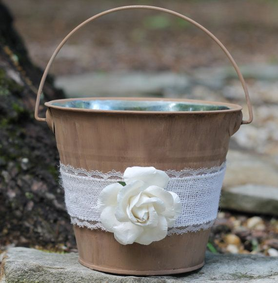 Rustic Burlap Flower Girl Baskets : Flower girl basket shabby chic pail paper or burlap rose