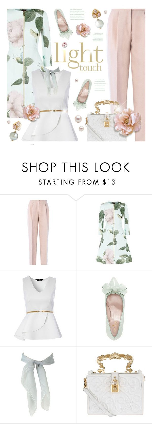 """""""Pastel Coat Contest! Enter!"""" by kearalachelle ❤ liked on Polyvore featuring Giambattista Valli, Ted Baker, Jane Norman, Kate Spade, Dolce&Gabbana and Mallary Marks"""