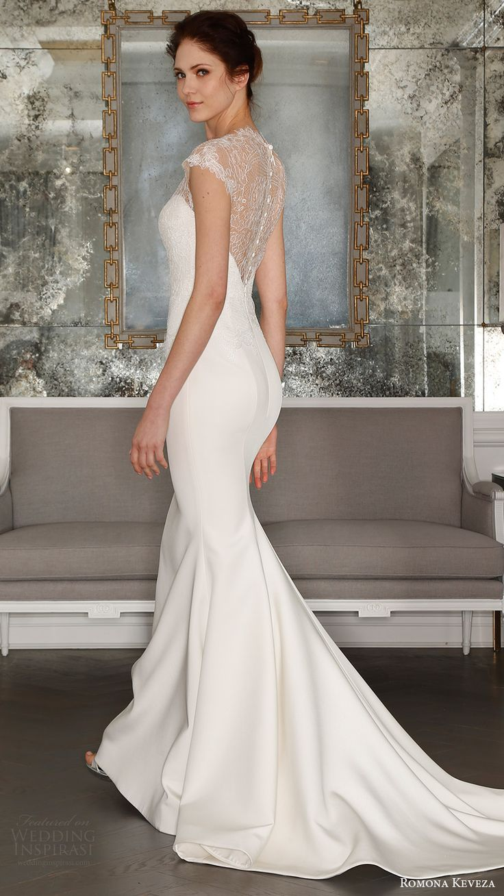 romona keveza bridal spring 2017 cap sleeves sweetheart illusion high neck sheath wedding dress (rk7404) bv sheer back train