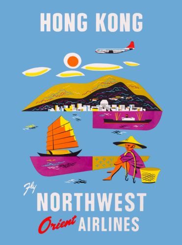 Hong-Kong-Fly-Northwest-Airlines-Orient-China-Asia-Vintage-Travel-Poster-Print