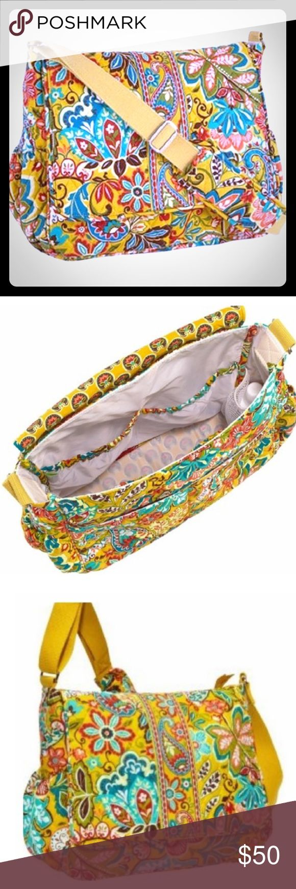"Vera Bradley Provencal Messenger Diaper Bag W/ Pad MSRP:$118.00  🌟 30% off Bundles 🌟  Never Used or worn, has small mark on bottom (pictured)  🌸Outside🌸  • Adjustable Shoulder Strap  • Front Flap is magnetic  • Back Zipper Pocket holds Changing Pad  • 2 side Pockets   🌸 Inside 🌸  • Lined with Taffeta  • 4 Slip Pockets • 2 Mesh Elastic Pockets  🌸 Measurements 🌸  • Bag: 13.5""W x 12"" H x 5.5"" D  • Adjustable Shoulder Strap: 52""  • Changing Pad: 24"" x 18""  Bundles and offers Welcome…"