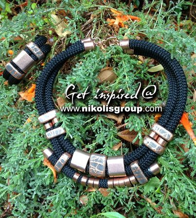 Necklace and bracelet made by enamel ceramic beads, brass findings, metal castings and climbing cord!order the materials now @ www.nikolisgroup.com