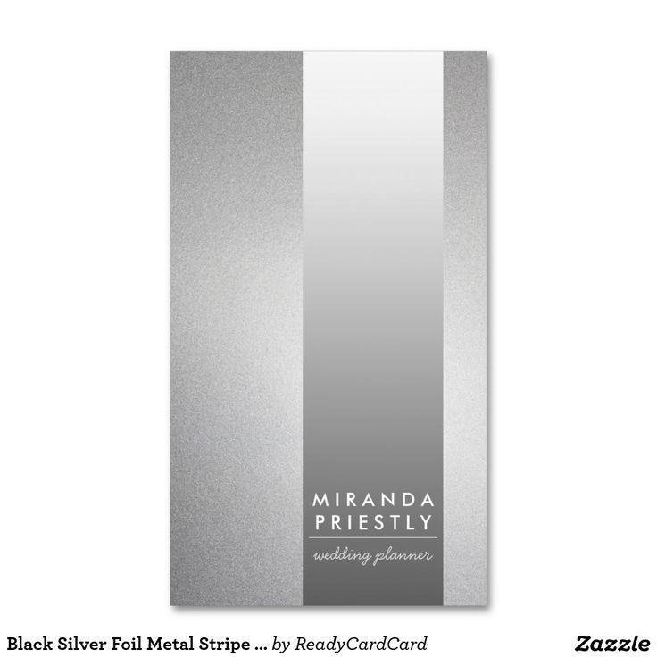 Black Silver Foil Metal Stripe Wedding Planner Business Card