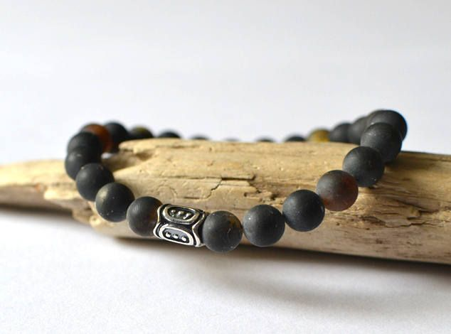 Amber Mens Bracelet, Bracelet Mens Bracelet Black Bead Bracelet Gemstone Bracelet Mens Womens Yoga Bracelet Gifts, Amber Jewelry by KARUBA on Etsy