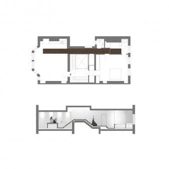 Mieszkanie składa się z przestrzeni po dwóch stronach klatki schodowej, połączonych korytarzykiem znajdującym się na podwyższeniu. http://sztuka-wnetrza.pl/1574/artykul/wystroj-wnetrza-z-orzechowym-lacznikiem