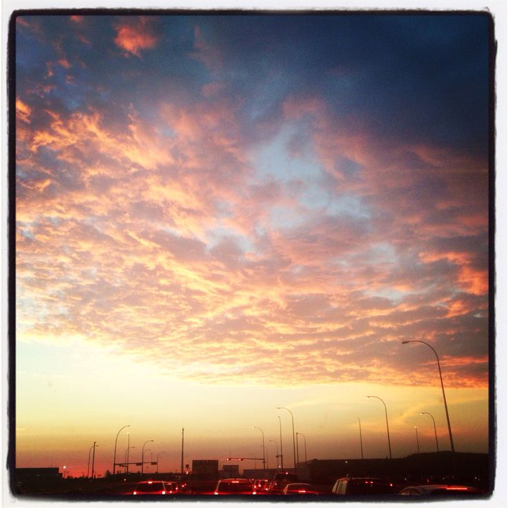 The only good thing about being stuck in traffic very early in the morning- what a sunrise.