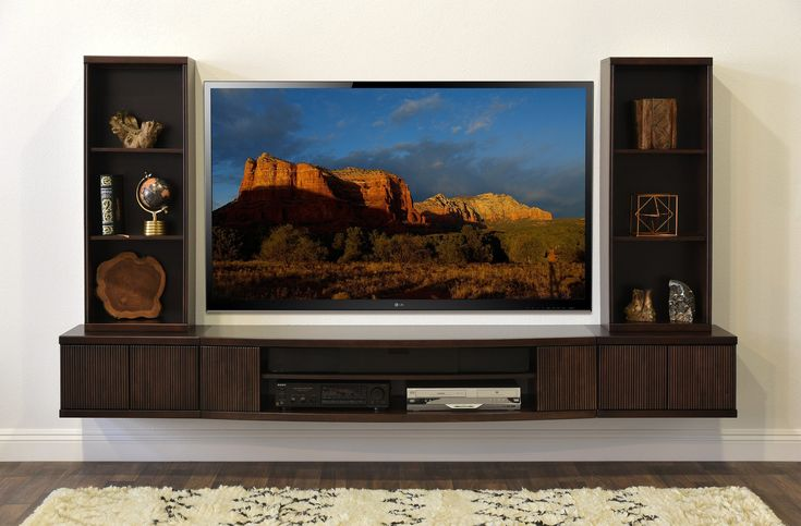 Floating TV Stand Wall Mount Entertainment Center - The Curve - 5 Piec - Woodwaves