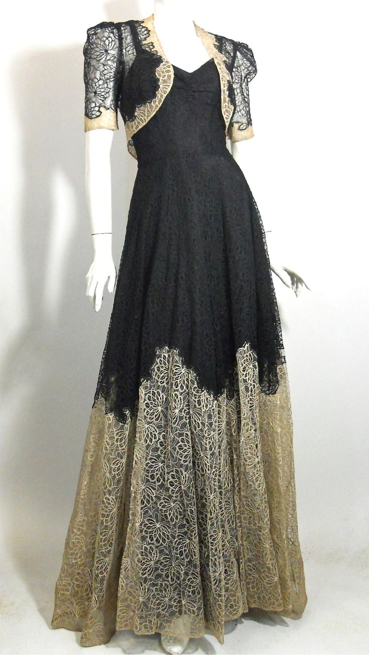 late 1930s black and ecru embroidered lace gown and jacket