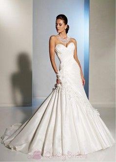 Bridal Jewelry For Sweetheart Neckline Elegant Taffeta Princess Strapless Wedding Dress Pinterest Dresses