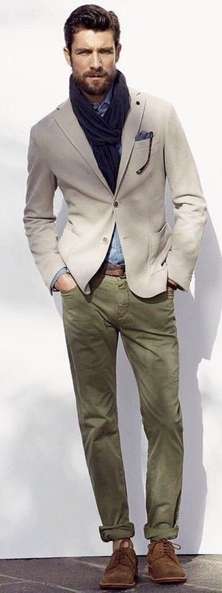 Men's Beige Blazer, Light Blue Chambray Long Sleeve Shirt, Olive Chinos, Brown Suede Derby Shoes