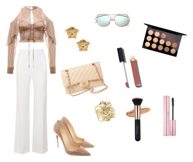 first date by hilalozkan on Polyvore featuring moda, Roland Mouret, Christian Louboutin, Chanel, Aurélie Bidermann, Versace and MAC Cosmetics