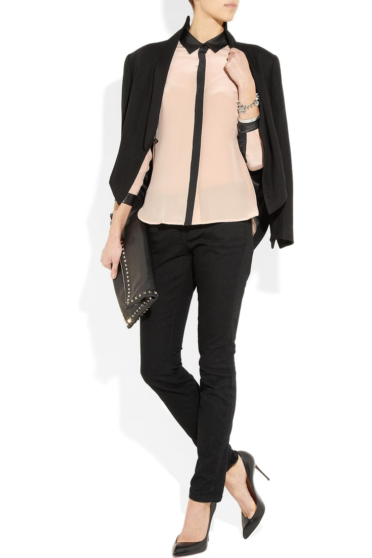 TIBITrim Blouses, Style Inspiration, Leathertrim, Tibi Leather, Fashion Inspiration, Silk Blouses, Products, Nice Blouses, Leather Trim Silk