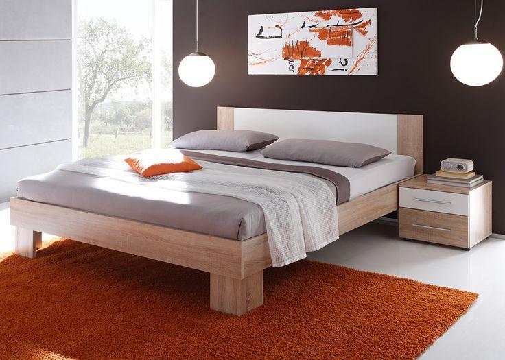 Bett 180 x 200 cm MARTINA in Weiß & Sonoma Eiche inklusive