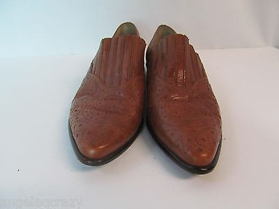 Vintage Bandolino Brazil Womens 6.5 Brown Western Perforated Leather Shoes Mocs