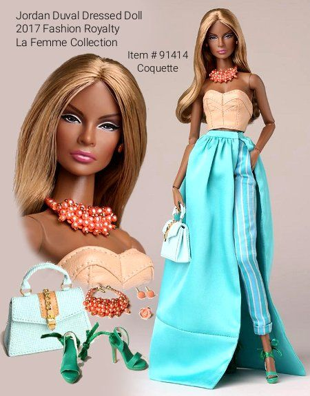 "Integrity Toys Summer 2017 reveal: Fashion Royalty La Femme collection - Jordan Duval is a 12.5"" fully articulated doll with fully rooted hair. Jordan is wearing a version of the classic hostess outfit with a floor length, detachable turquoise satin skirt over striped satin capri pants, topped by a faux-leather bustier. Jordan completes the look with colorful accessories."