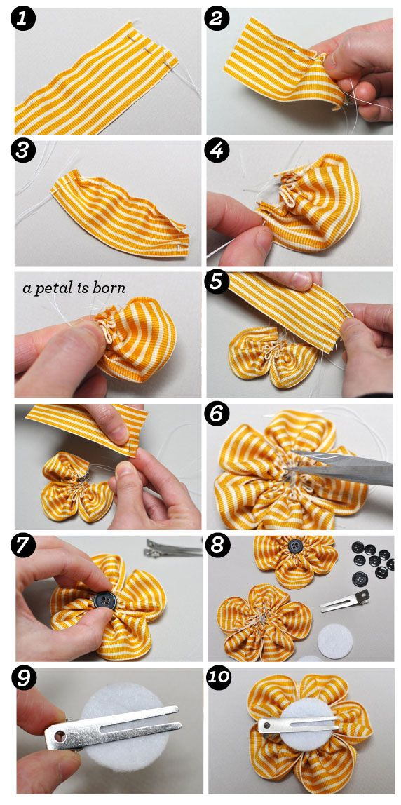 Ribbon Flower Hairbow Clip instructions