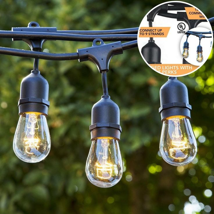 Outdoor Patio String Lights Garden Led Lighting Hanging Sockets Yard #OutdoorPatioStringLights
