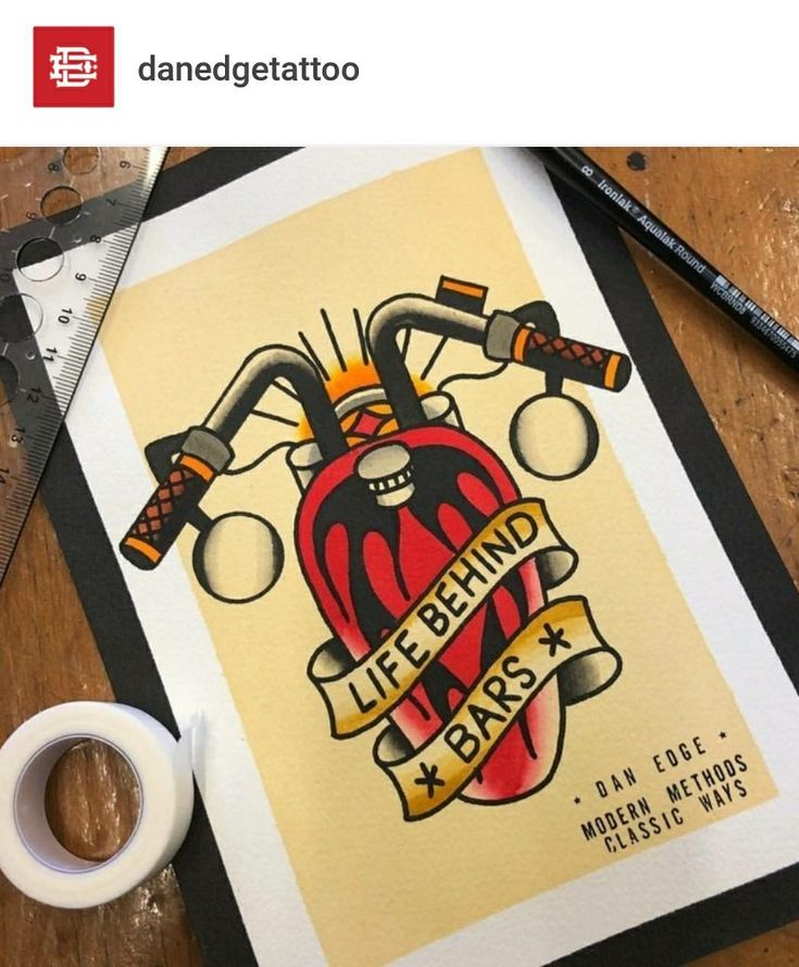Biker themed Tattoo Inspiratitions. Old school vintage styled biker tattoos