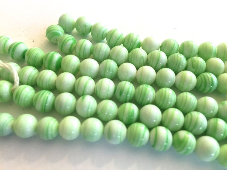 vintage beads japan 24 green stripe white opaque glass beads occupied japan cherry brand