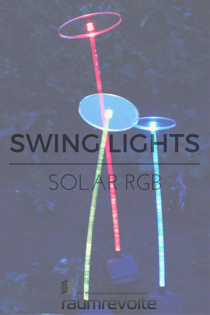 Cool Die farbwechselnden Schwingst be und Scheiben aus fluoreszierendem Acrylglas leuchten dank RGB LED Solarmodul mit D mmerungssensor nachts automatisch