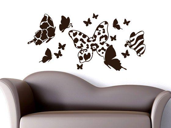 wohnzimmer afrika deko: Wandsticker Deko Afrika Falter für Wohnzimmer Schmetterlinge Muster