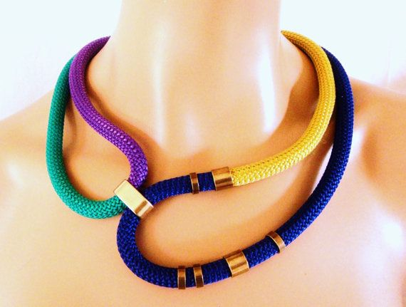 Multi color Rope Tribal Necklace, Statement Necklace, Gold Electric Blue Emerald and Purple Rope and Bronze Rings, Party Bling, Color Block on Etsy, $29.50