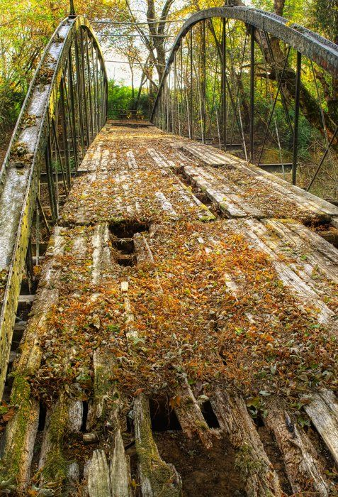 The Old Springfield Bridge - oldest known bridge in Arkansas still standing. An 1874 iron bowstring truss bridge over Cadron Creek near Springfield, Arkansas on the Conway-Faulkner County line.
