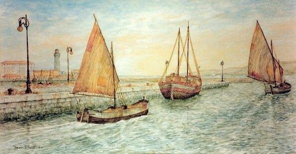 Barche  al molo Pescheria - quadro di Furio Bomben