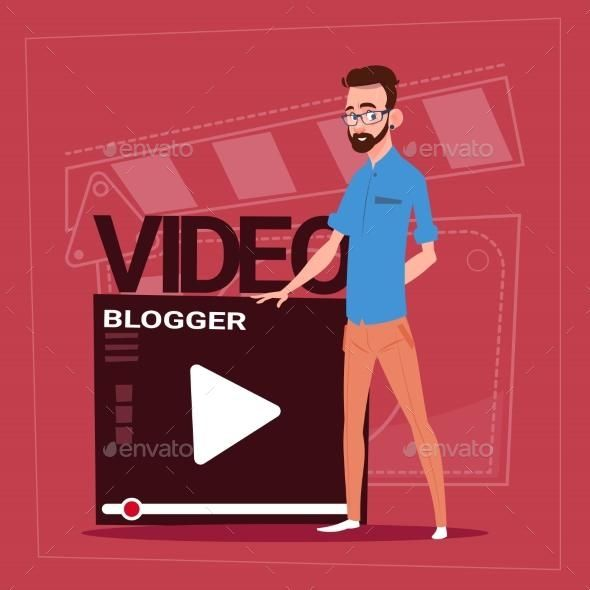 Man Over Vlogger Channel Screen Modern Video Vlogger Man Channel