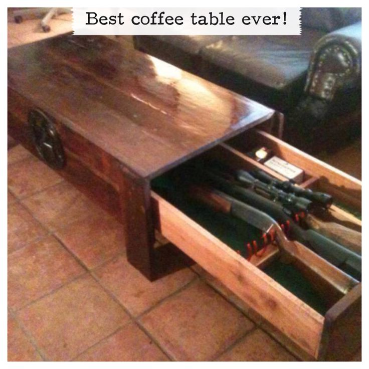 Coffee table gun storage. Hidden gun cabinet. Except I haven't got any guns, so I'll hide my sewing in here!