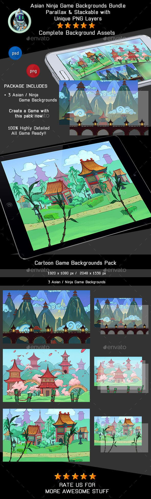 3 Asian / Ninja Game Backgrounds - Parallax and Tileable - Backgrounds Game Assets