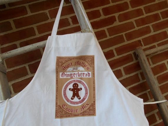 Ginger bread man apron christmas apron chef apron by FeedSackLady