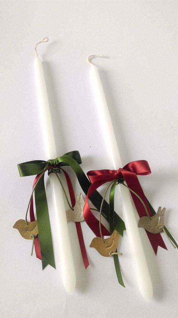 Two Easter candles for couples,Greek Easter candle,lambades for couples,handmade Easter candles,Orthodox lambades,Easter couples gift