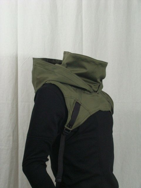 Wasteland Cowl V2 OD Green by Crisiswear on Etsy, $60.00 Would be cool for a green arrow cosplay.