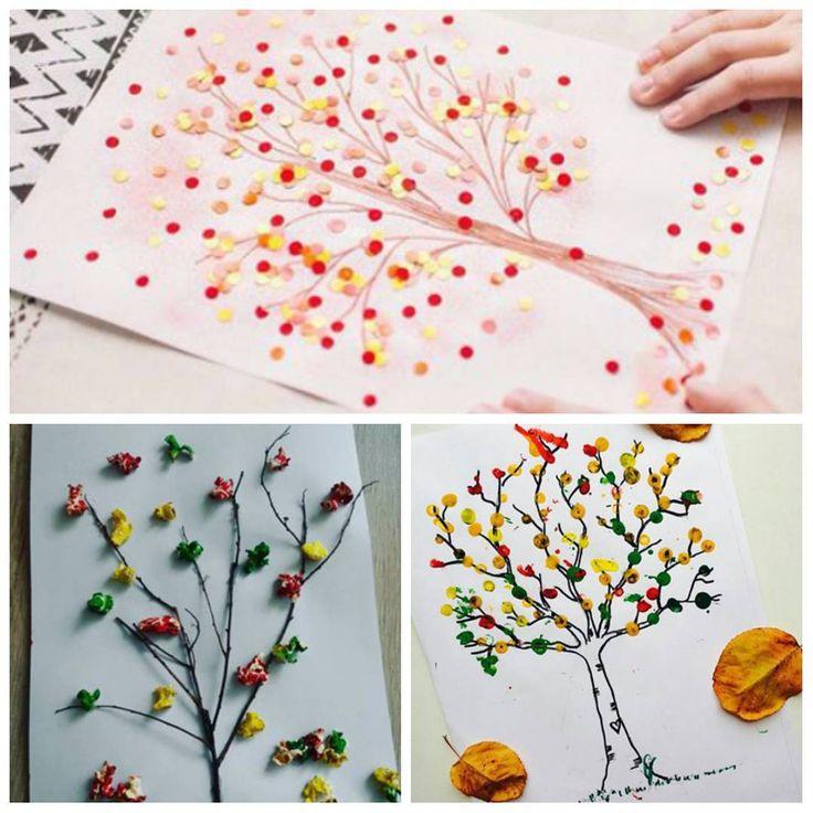 «Осенних деревьев вам в ленту . Первое из конфетти от @luchshayasemya2050, второе из скомканной бумаги или крашенного попкорна от @zoyar_111, а третье,…»