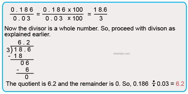 Contents1 Dividing a Decimal Fraction by a Whole number:1.1 Division-Decimal Numbers Example 1:1.2 Division-Decimal Numbers Example 2:2 Dividing a Decimal Number or a Whole Number by a Decimal Number:2.1 Division-Decimal Numbers Example 3:2.2 Division-Decimal Numbers Example 4:3 Dividing a Decimal Fraction by Numbers like 10, 100 and 1000 and their Multiples:3.1 Division-Decimal Numbers Example 5:4 …