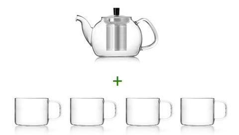 Glas Teekannen-Set: SAMADOYO Teekanne Glas mit Edelstahl-Teesieb und vier Teegläser mit Henkel