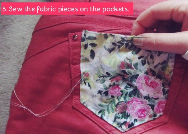DIY Jeans With Floral Print Pockets could also attach to a front shirt pocket