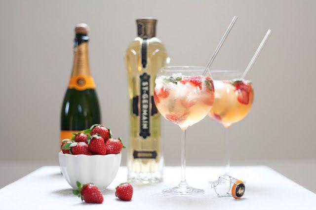 Champagne, St. Germain, Strawberries, & Mint...