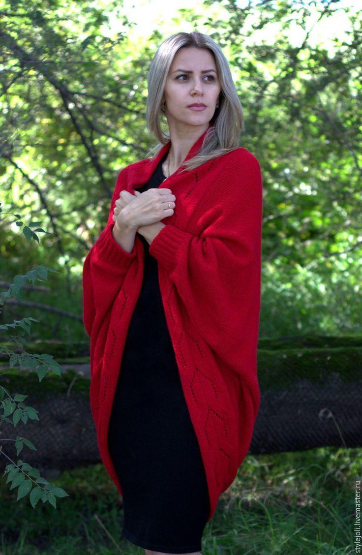 Купить Накидка Малиновый щербет-вязаная накидка, кардиган, свободный стиль - ярко-красный, кардиган