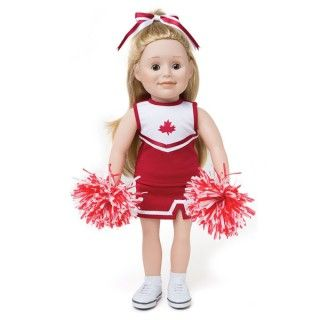 Pom Pom Power: Cheer for your favourite team while shaking red and white pom poms that fit perfectly into your Maplelea doll's hands. This outfit includes ...