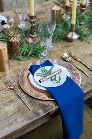 natural woodsy and copper table setting - photo by Olivia Richards Photography