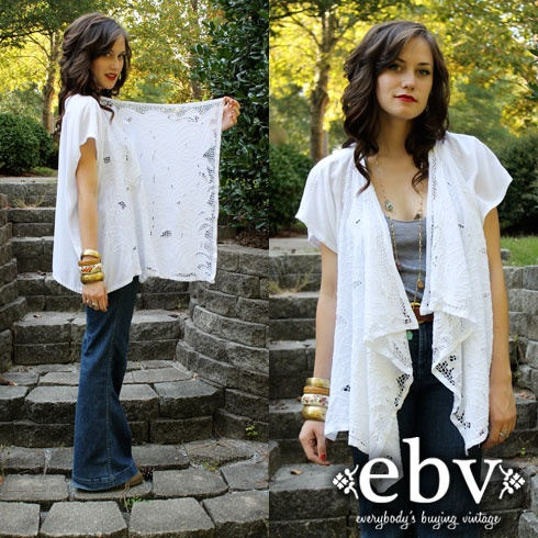 Vintage 70s WHITE draped CROCHET hippie BOHO top CARDIGAN